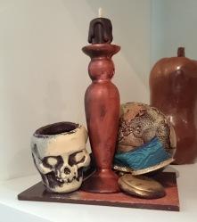 Crâne, bougeoir, montre à gousset et mappemonde